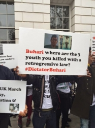Protest Against Buhari Currently Ongoing At Chatham House In London (PHOTOS)