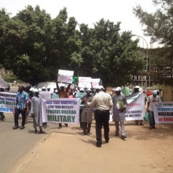 Pro-Military Group Protest Against Punch, Daily Trust, Leadership Newspapers
